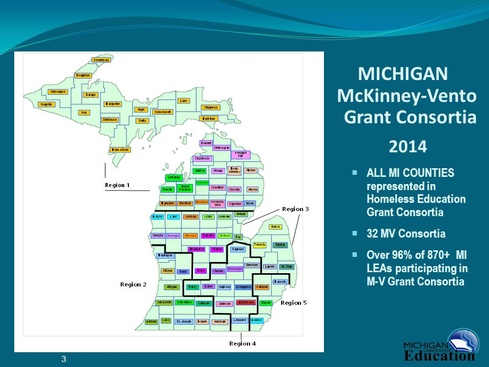 MICHIGAN McKinney-Vento Grant Consortia 2014  ALL MI COUNTIES represented in Homeless Education Grant Consortia  32 MV Consortia  Over 96% of 870+ MI LEAs participating in M-V Grant Consortia 3