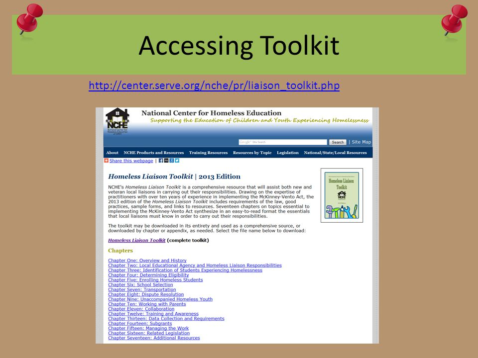 Accessing Toolkit http://center.serve.org/nche/pr/liaison_toolkit.php