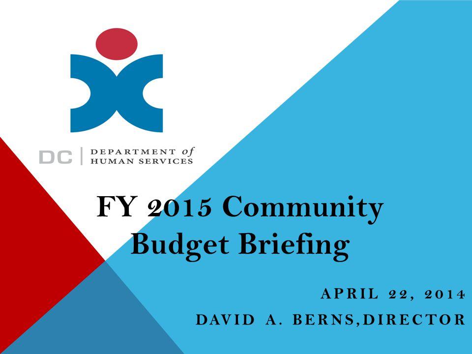 APRIL 22, 2014 DAVID A. BERNS,DIRECTOR FY 2015 Community Budget Briefing