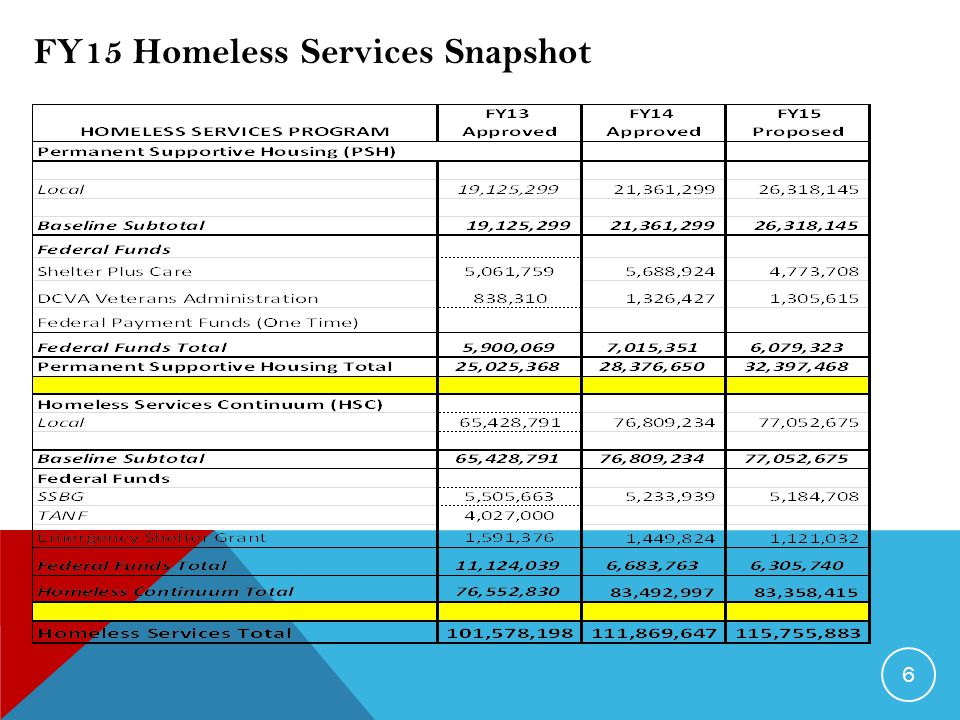 6 FY15 Homeless Services Snapshot