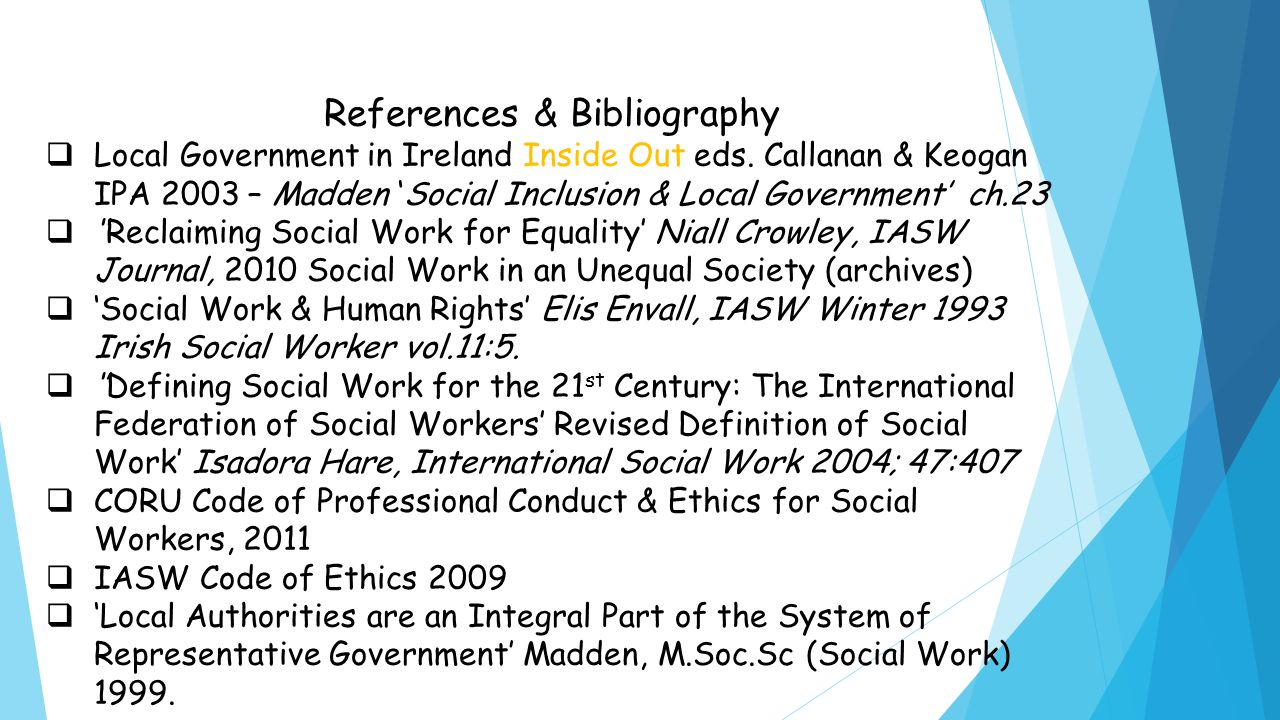 References & Bibliography  Local Government in Ireland Inside Out eds.