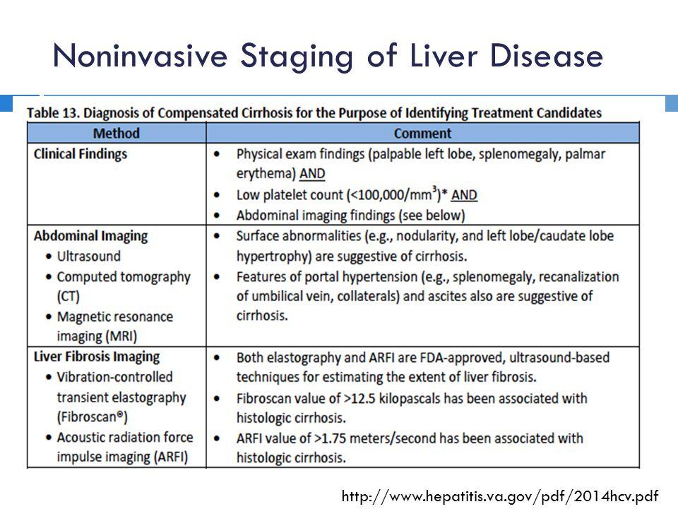 Noninvasive Staging of Liver Disease http://www.hepatitis.va.gov/pdf/2014hcv.pdf