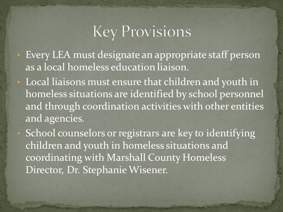 Every LEA must designate an appropriate staff person as a local homeless education liaison.