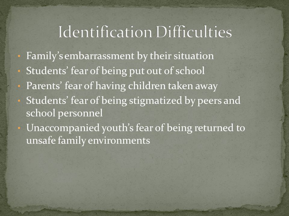 Family's embarrassment by their situation Students' fear of being put out of school Parents' fear of having children taken away Students' fear of being stigmatized by peers and school personnel Unaccompanied youth's fear of being returned to unsafe family environments