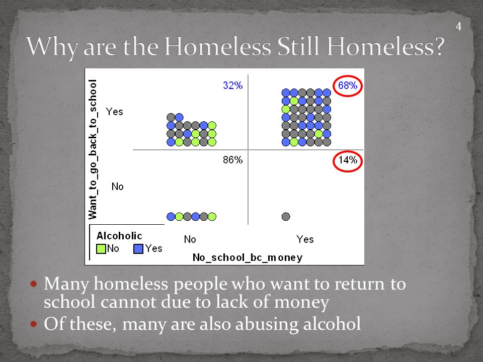 Many homeless people who want to return to school cannot due to lack of money Of these, many are also abusing alcohol 4