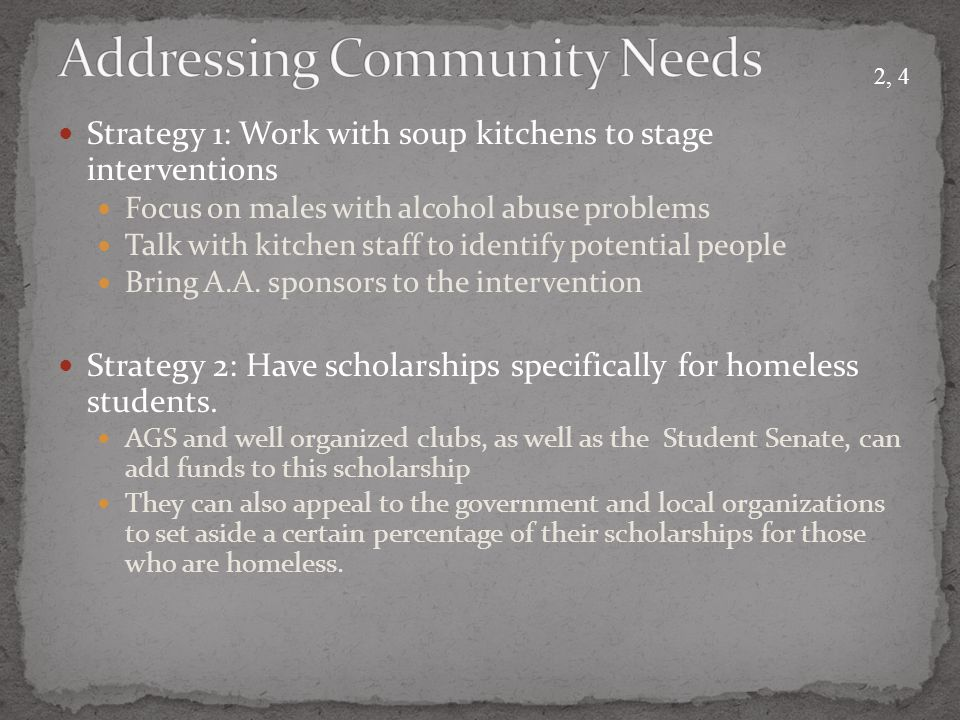 Strategy 1: Work with soup kitchens to stage interventions Focus on males with alcohol abuse problems Talk with kitchen staff to identify potential people Bring A.A.
