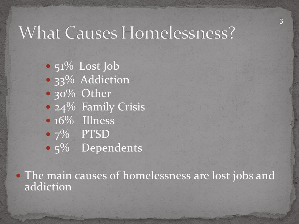 51% Lost Job 33% Addiction 30% Other 24% Family Crisis 16% Illness 7% PTSD 5% Dependents The main causes of homelessness are lost jobs and addiction 3