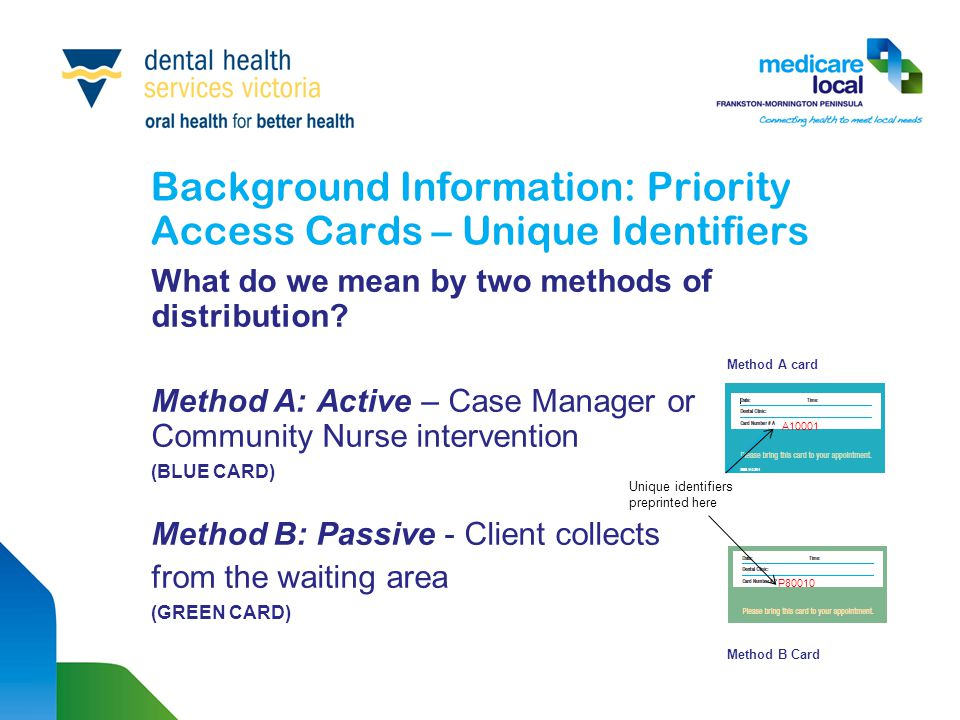 Background Information: Priority Access Cards – Unique Identifiers What do we mean by two methods of distribution? Method A card Method A: Active – Ca