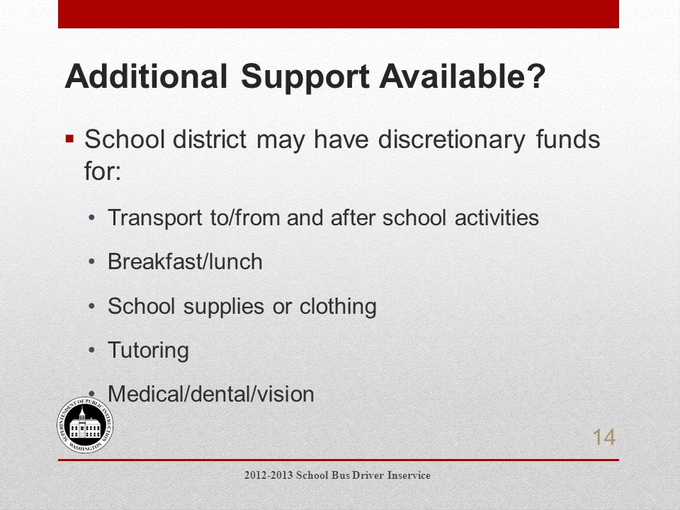 Additional Support Available.