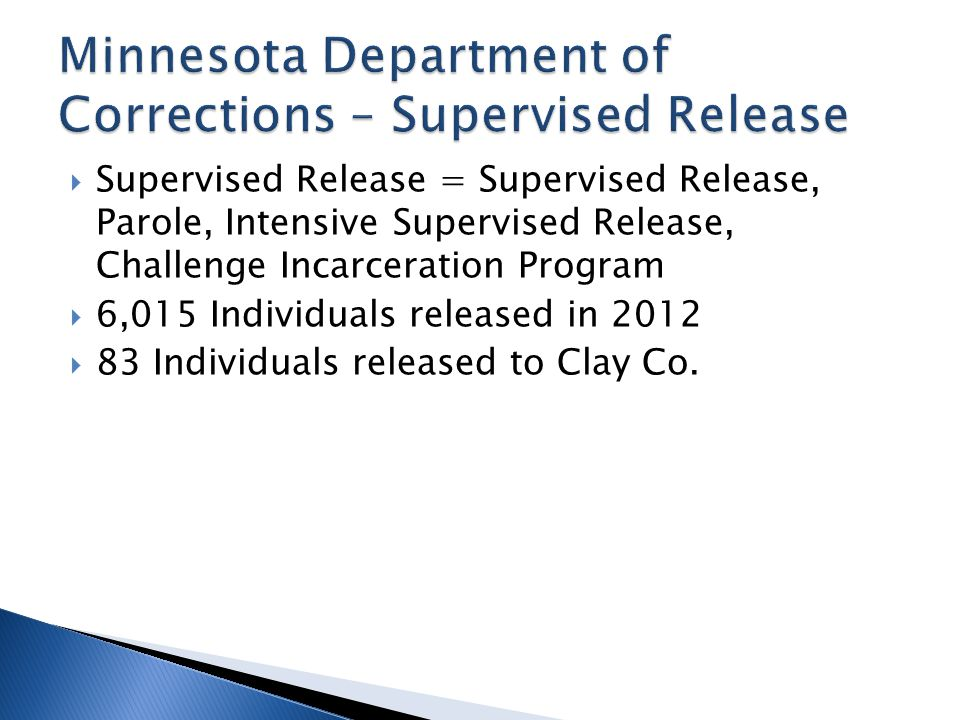  Supervised Release = Supervised Release, Parole, Intensive Supervised Release, Challenge Incarceration Program  6,015 Individuals released in 2012