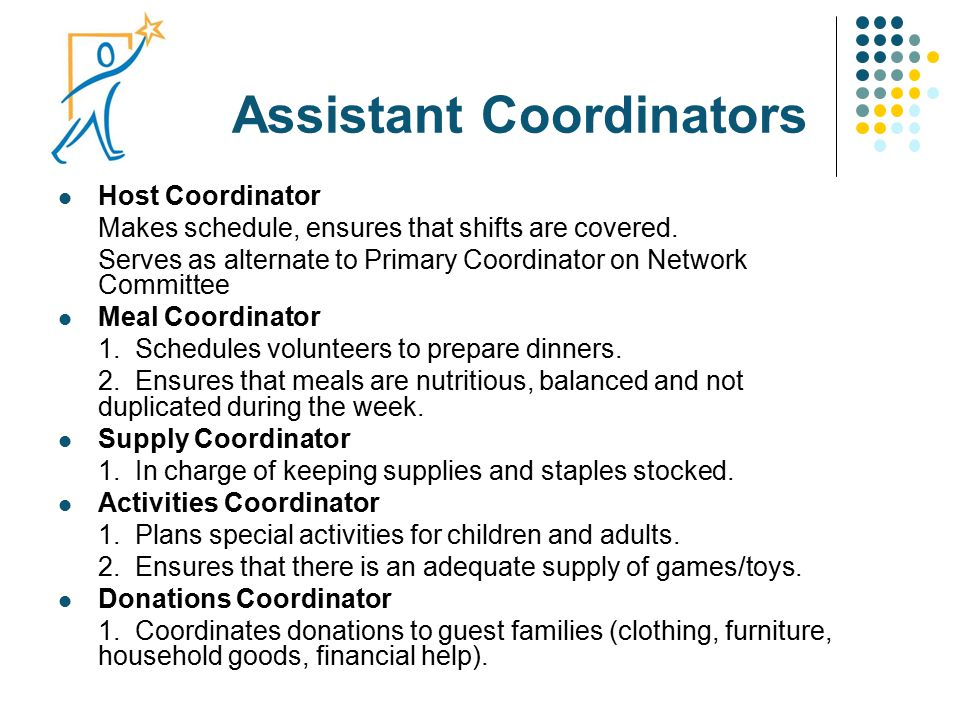 Assistant Coordinators Host Coordinator Makes schedule, ensures that shifts are covered. Serves as alternate to Primary Coordinator on Network Committ