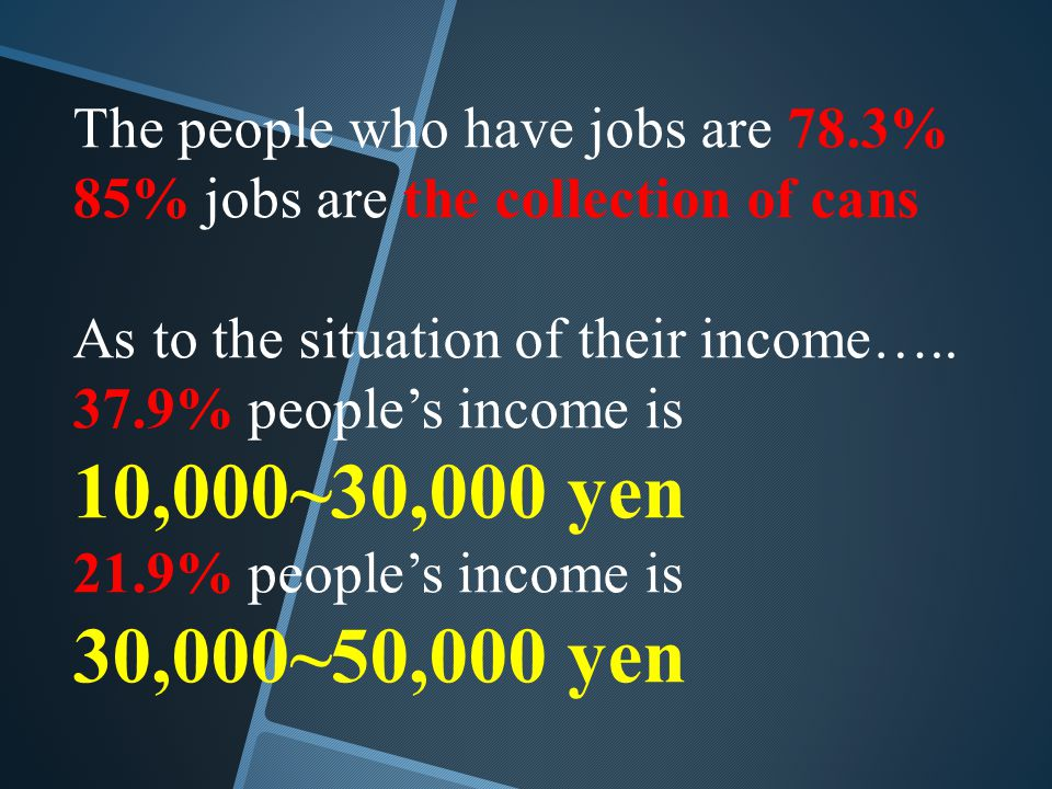 The people who have jobs are 78.3% 85% jobs are the collection of cans As to the situation of their income…..