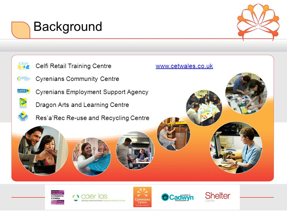 Background Celfi Retail Training Centre www.cetwales.co.ukwww.cetwales.co.uk Cyrenians Community Centre Cyrenians Employment Support Agency Dragon Arts and Learning Centre Res'a'Rec Re-use and Recycling Centre