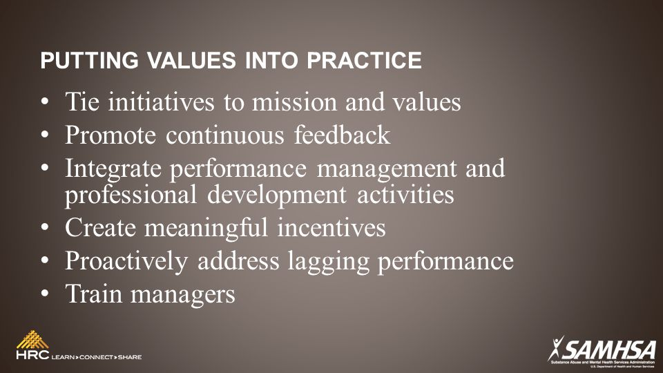 PUTTING VALUES INTO PRACTICE Tie initiatives to mission and values Promote continuous feedback Integrate performance management and professional development activities Create meaningful incentives Proactively address lagging performance Train managers