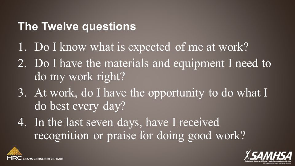 The Twelve questions 1.Do I know what is expected of me at work.