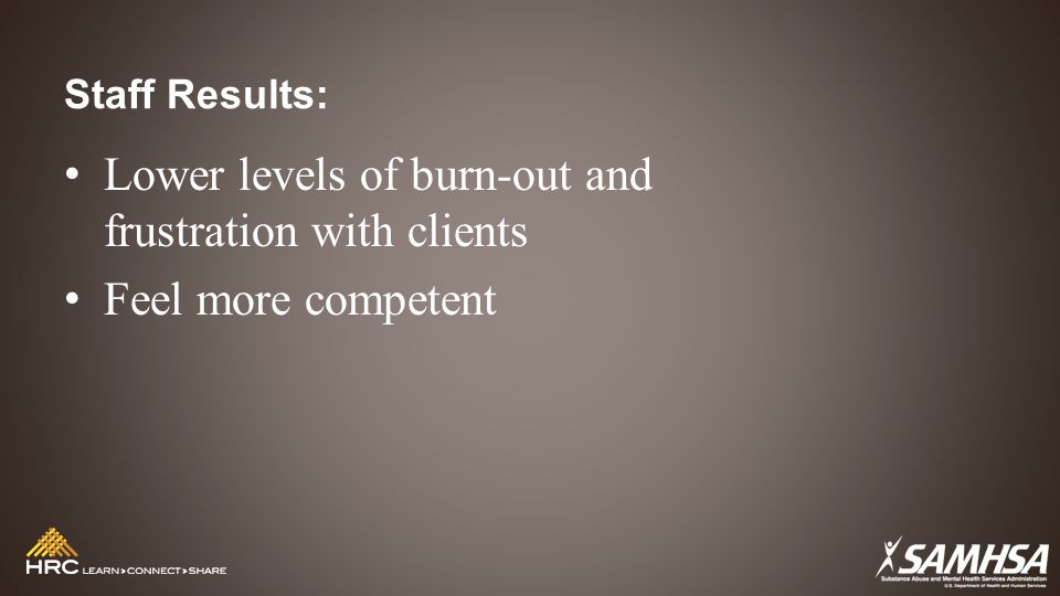Staff Results: Lower levels of burn-out and frustration with clients Feel more competent
