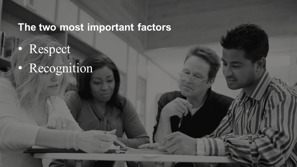 The two most important factors Respect Recognition