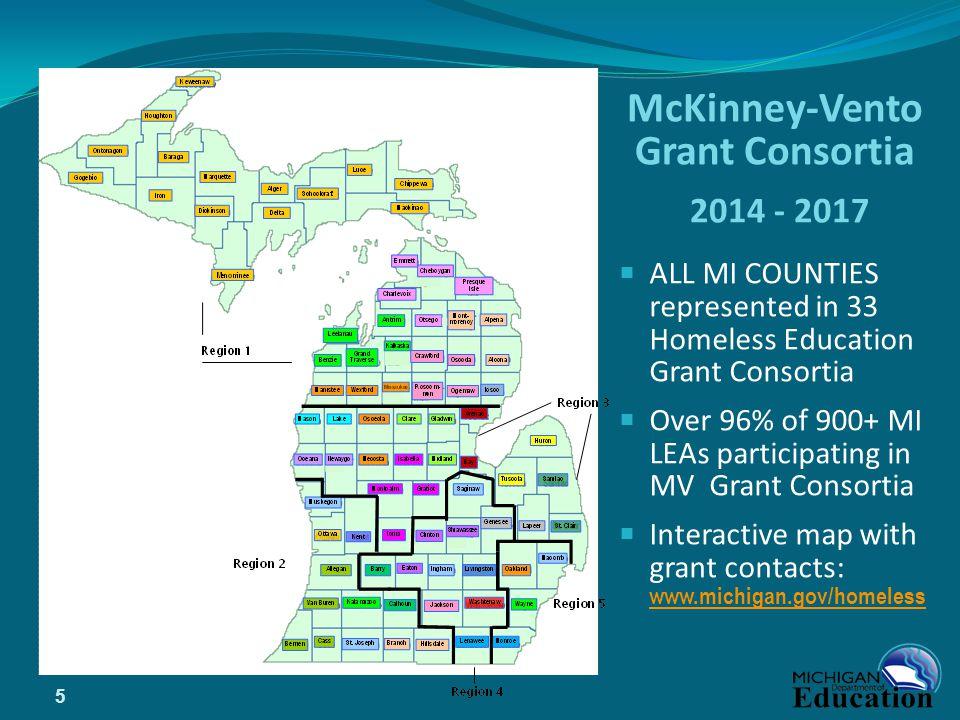 McKinney-Vento Grant Consortia 2014 - 2017  ALL MI COUNTIES represented in 33 Homeless Education Grant Consortia  Over 96% of 900+ MI LEAs participa