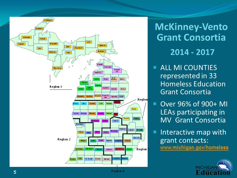McKinney-Vento Grant Consortia 2014 - 2017  ALL MI COUNTIES represented in 33 Homeless Education Grant Consortia  Over 96% of 900+ MI LEAs participating in MV Grant Consortia  Interactive map with grant contacts: www.michigan.gov/homeless www.michigan.gov/homeless 5