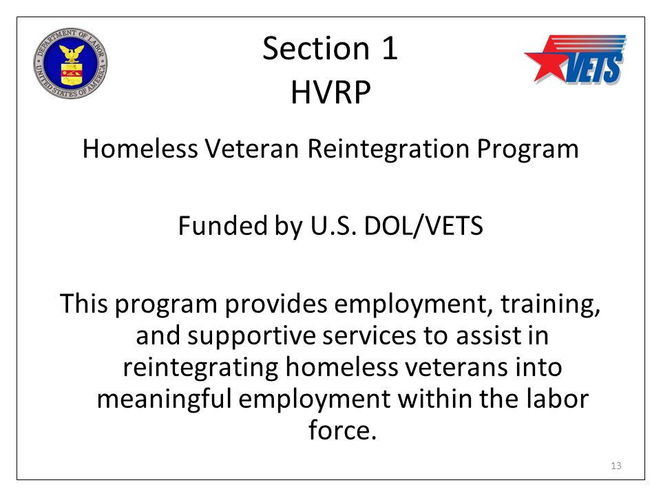Section 1 HVRP Homeless Veteran Reintegration Program Funded by U.S. DOL/VETS This program provides employment, training, and supportive services to a