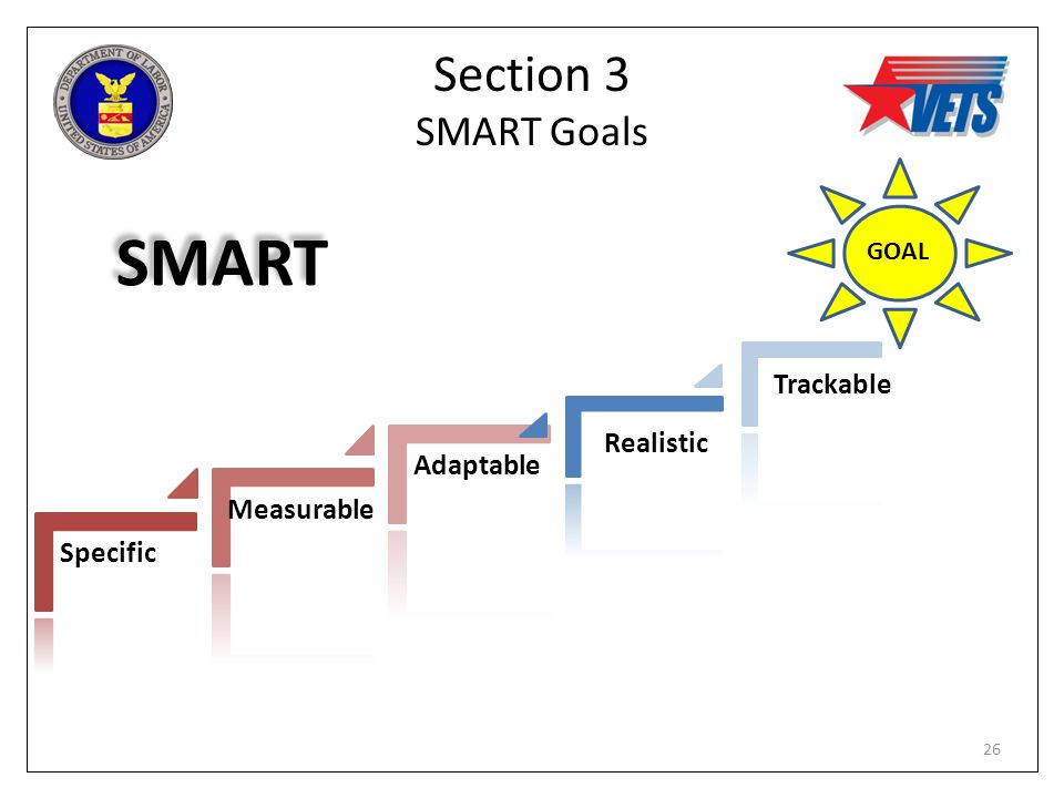 Section 3 SMART Goals Realistic Trackable SMART GOAL 26