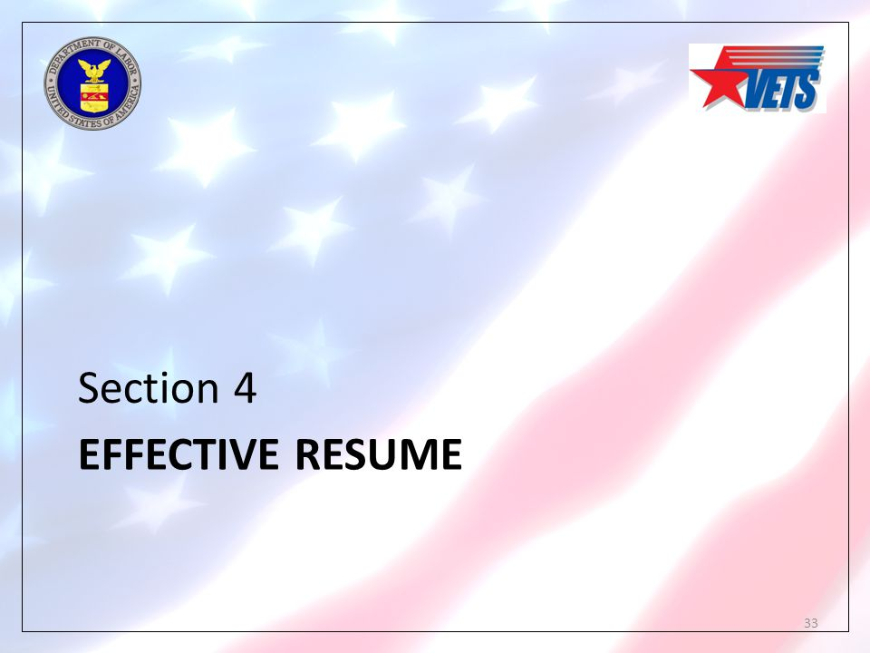 EFFECTIVE RESUME Section 4 33
