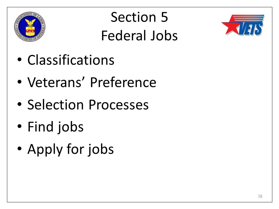 Section 5 Federal Jobs Classifications Veterans' Preference Selection Processes Find jobs Apply for jobs 38