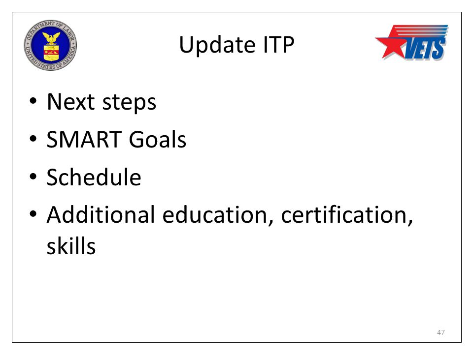 Update ITP Next steps SMART Goals Schedule Additional education, certification, skills 47