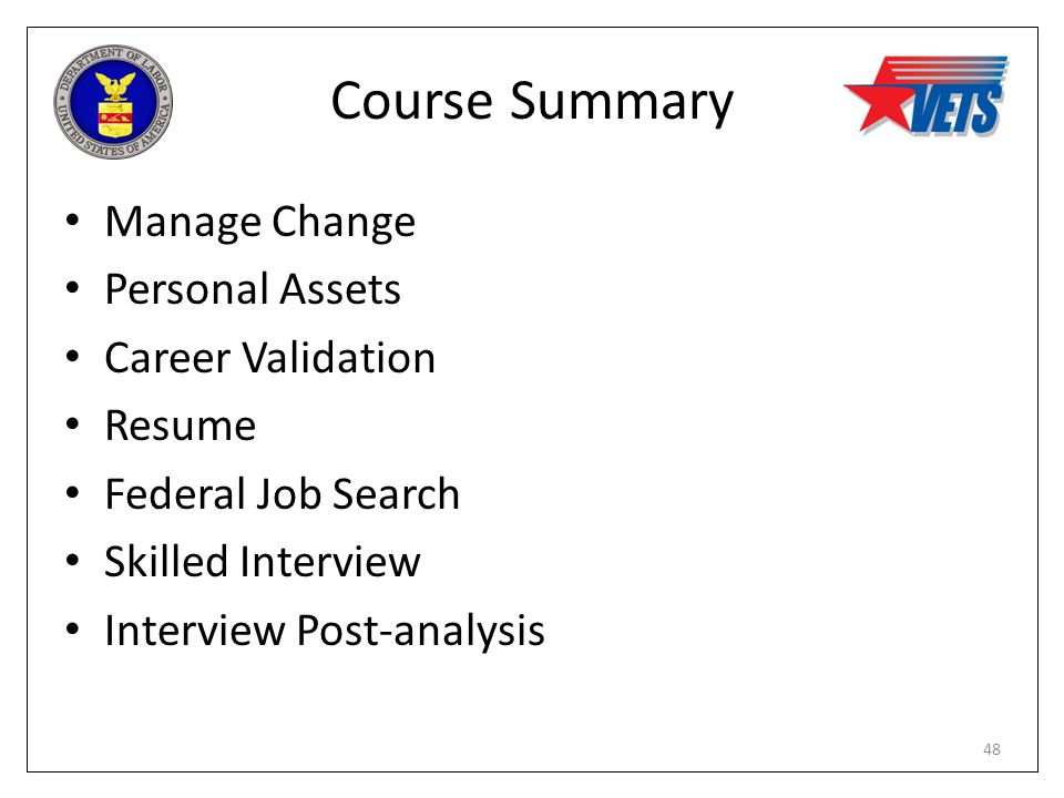 Course Summary Manage Change Personal Assets Career Validation Resume Federal Job Search Skilled Interview Interview Post-analysis 48