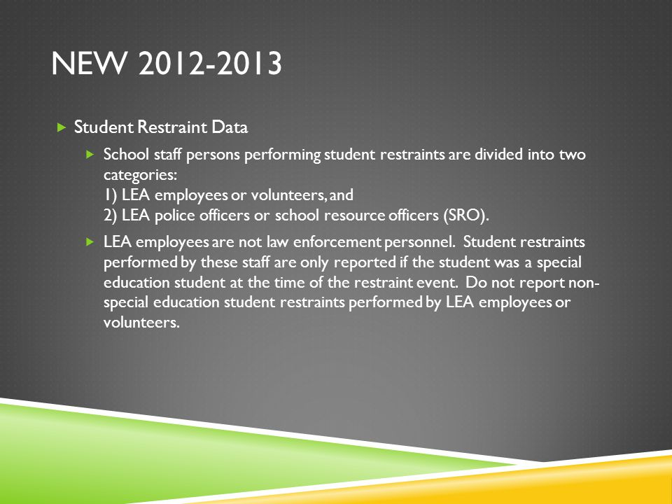 NEW 2012-2013  Student Restraint Data  School staff persons performing student restraints are divided into two categories: 1) LEA employees or volunteers, and 2) LEA police officers or school resource officers (SRO).