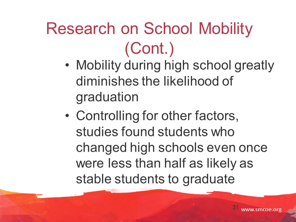 www.smcoe.org 31 Research on School Mobility (Cont.) Mobility during high school greatly diminishes the likelihood of graduation Controlling for other factors, studies found students who changed high schools even once were less than half as likely as stable students to graduate
