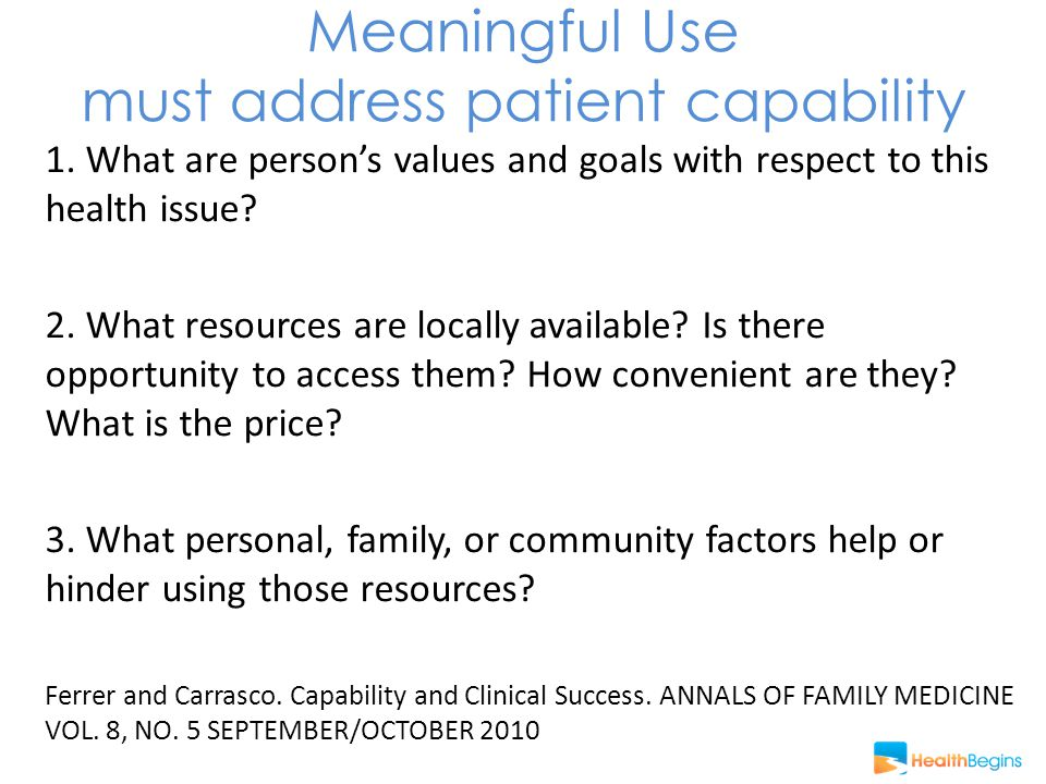 Meaningful Use must address patient capability 1.