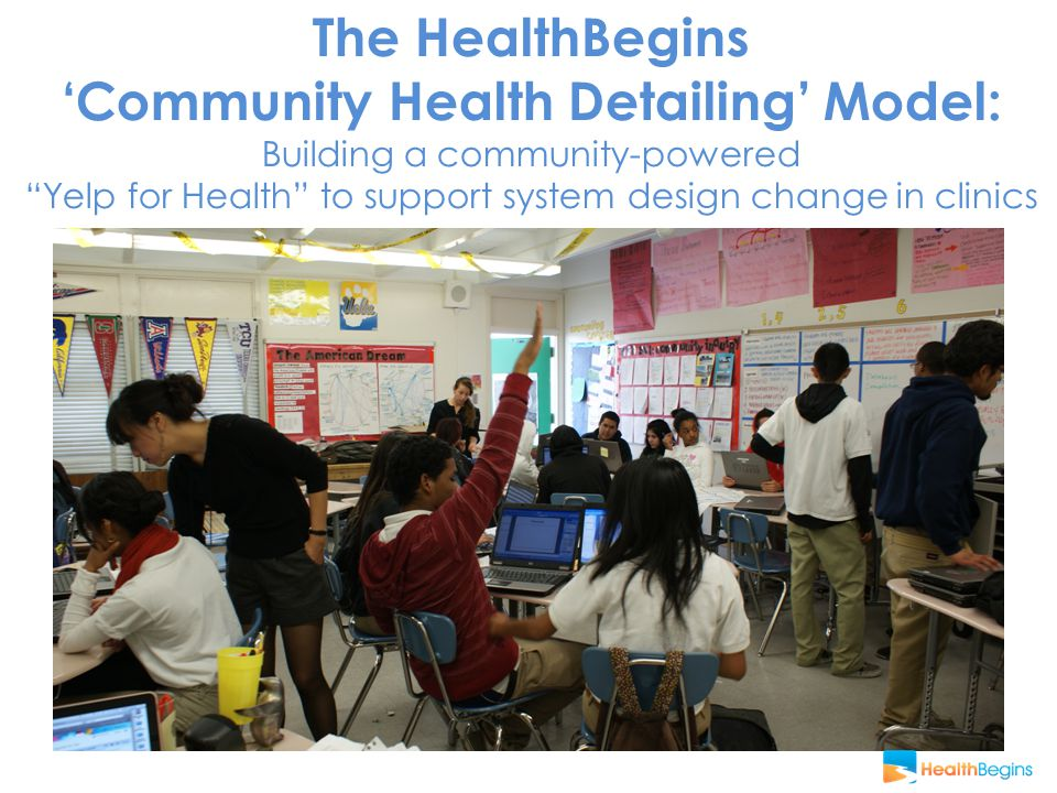 The HealthBegins 'Community Health Detailing' Model: Building a community-powered Yelp for Health to support system design change in clinics