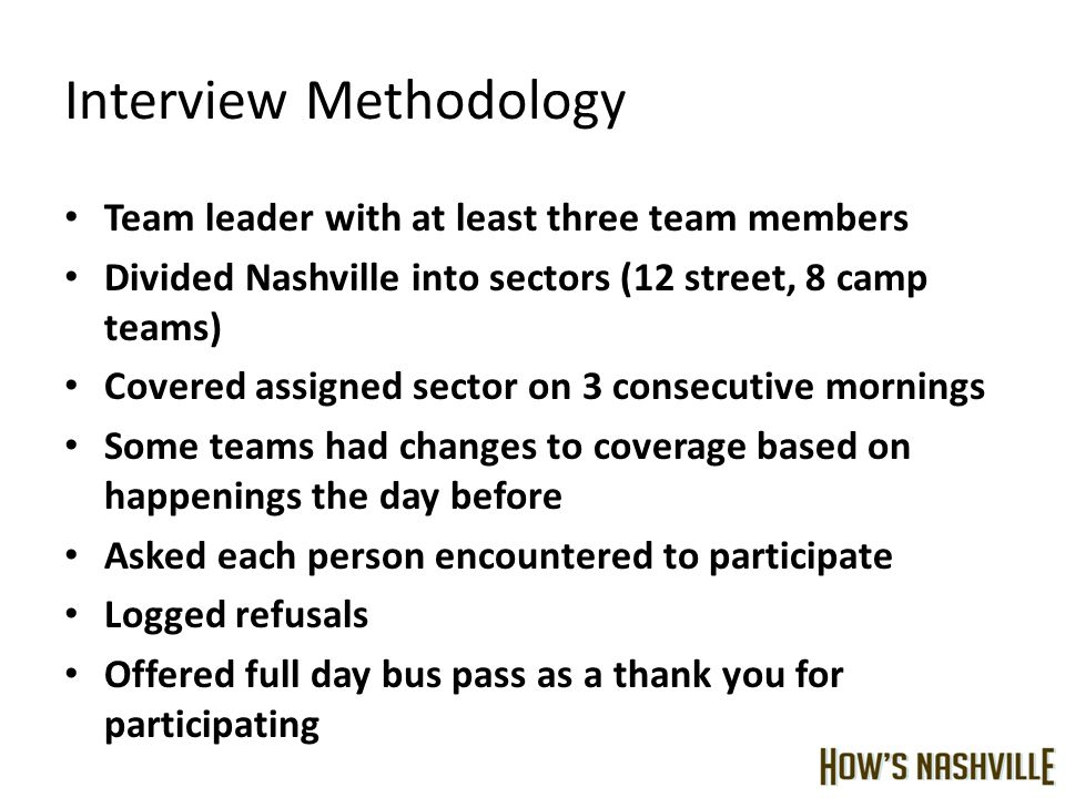 Interview Methodology Team leader with at least three team members Divided Nashville into sectors (12 street, 8 camp teams) Covered assigned sector on 3 consecutive mornings Some teams had changes to coverage based on happenings the day before Asked each person encountered to participate Logged refusals Offered full day bus pass as a thank you for participating