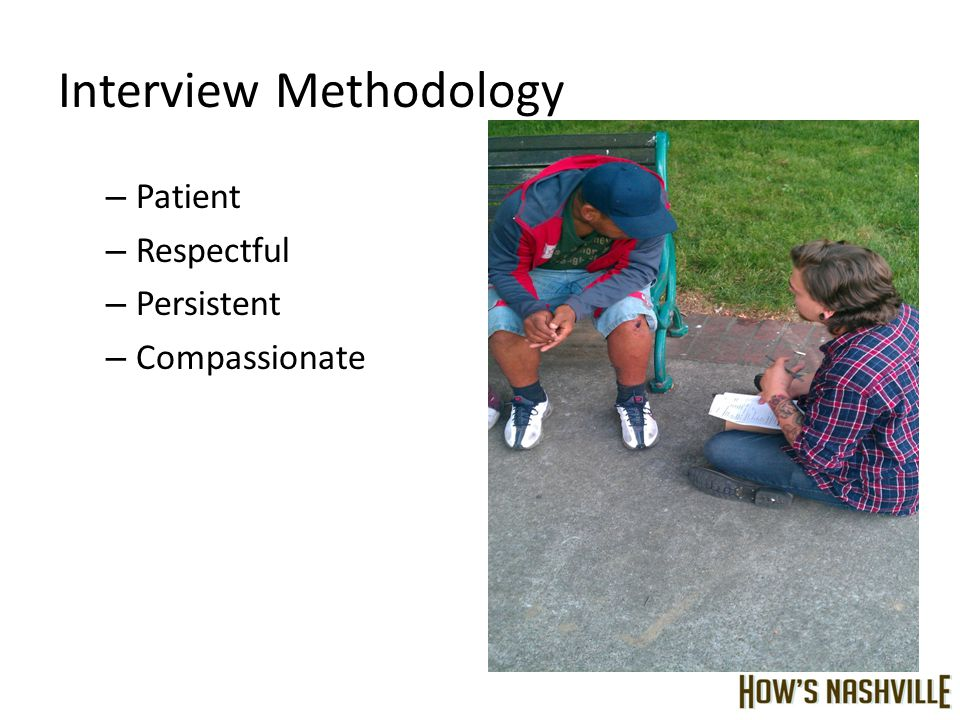 Interview Methodology – Patient – Respectful – Persistent – Compassionate