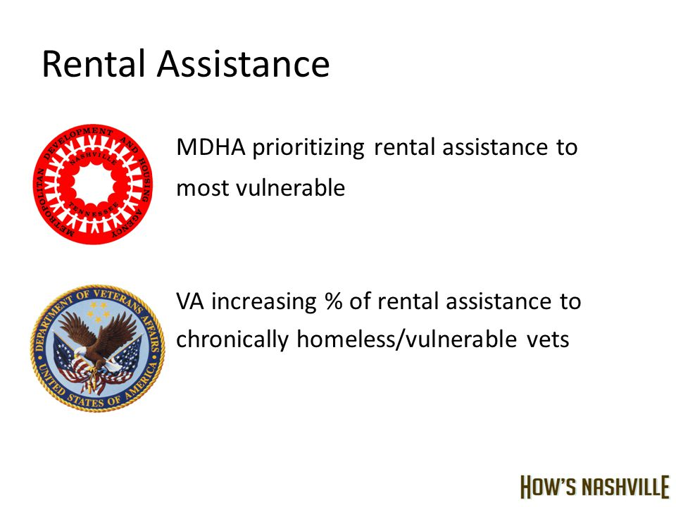 Rental Assistance MDHA prioritizing rental assistance to most vulnerable VA increasing % of rental assistance to chronically homeless/vulnerable vets
