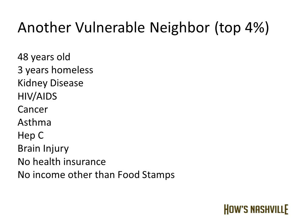 Another Vulnerable Neighbor (top 4%) 48 years old 3 years homeless Kidney Disease HIV/AIDS Cancer Asthma Hep C Brain Injury No health insurance No income other than Food Stamps