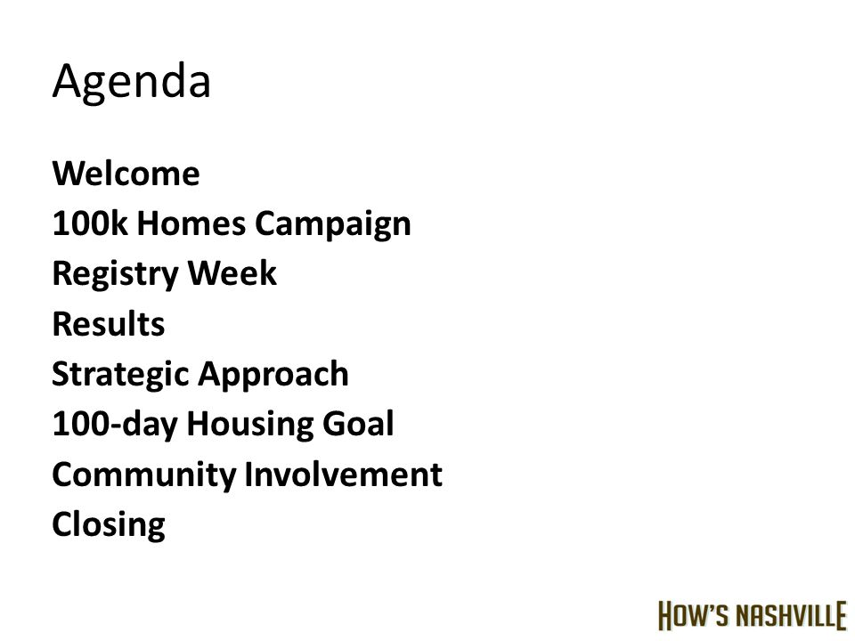 Agenda Welcome 100k Homes Campaign Registry Week Results Strategic Approach 100-day Housing Goal Community Involvement Closing