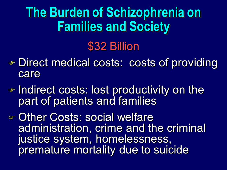 The Burden of Schizophrenia on Families and Society $32 Billion F Direct medical costs: costs of providing care F Indirect costs: lost productivity on the part of patients and families F Other Costs: social welfare administration, crime and the criminal justice system, homelessness, premature mortality due to suicide $32 Billion F Direct medical costs: costs of providing care F Indirect costs: lost productivity on the part of patients and families F Other Costs: social welfare administration, crime and the criminal justice system, homelessness, premature mortality due to suicide