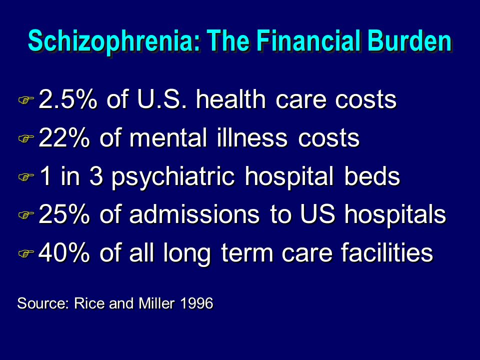 Schizophrenia: The Financial Burden F 2.5% of U.S.