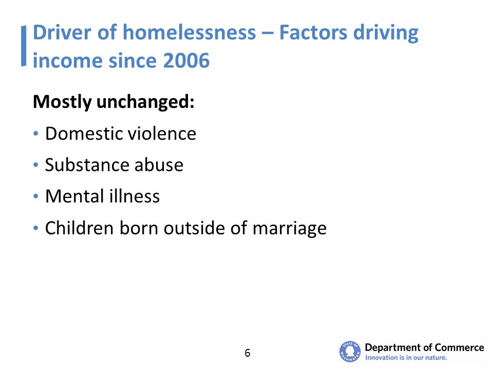 Driver of homelessness – Factors driving income since 2006 Mostly unchanged: Domestic violence Substance abuse Mental illness Children born outside of marriage 6