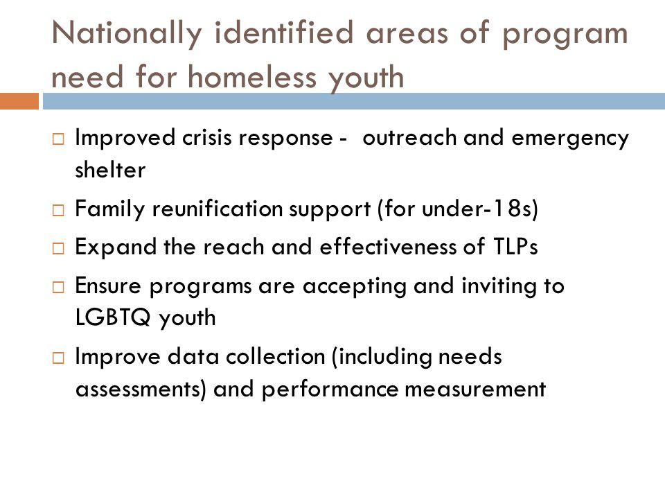 Nationally identified areas of program need for homeless youth  Improved crisis response - outreach and emergency shelter  Family reunification support (for under-18s)  Expand the reach and effectiveness of TLPs  Ensure programs are accepting and inviting to LGBTQ youth  Improve data collection (including needs assessments) and performance measurement