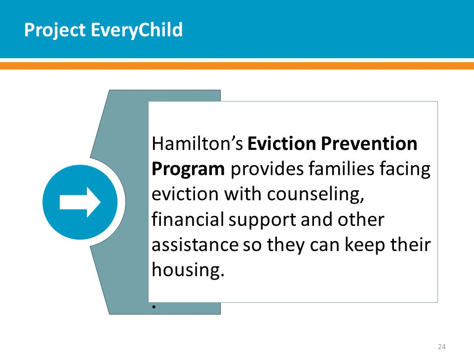 Project EveryChild 24 Hamilton's Eviction Prevention Program provides families facing eviction with counseling, financial support and other assistance so they can keep their housing..