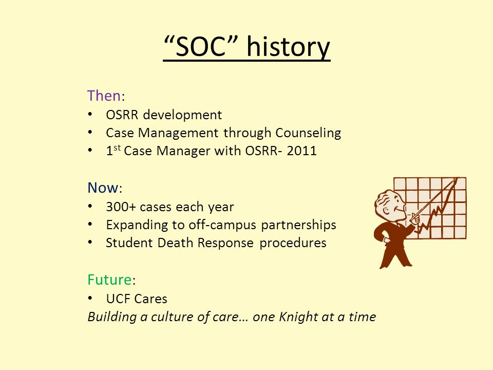 SOC history Then : OSRR development Case Management through Counseling 1 st Case Manager with OSRR- 2011 Now : 300+ cases each year Expanding to off-campus partnerships Student Death Response procedures Future : UCF Cares Building a culture of care… one Knight at a time