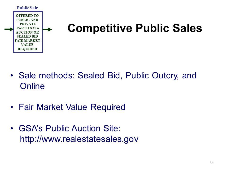 Competitive Public Sales Sale methods: Sealed Bid, Public Outcry, and Online Fair Market Value Required GSA's Public Auction Site: http://www.realesta