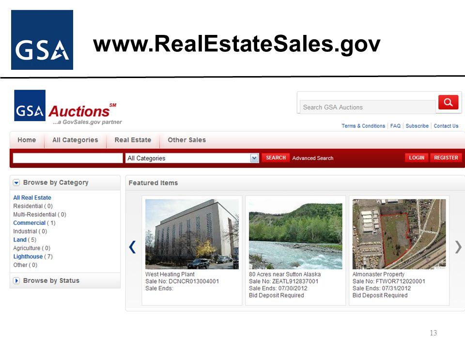 www.RealEstateSales.gov 13