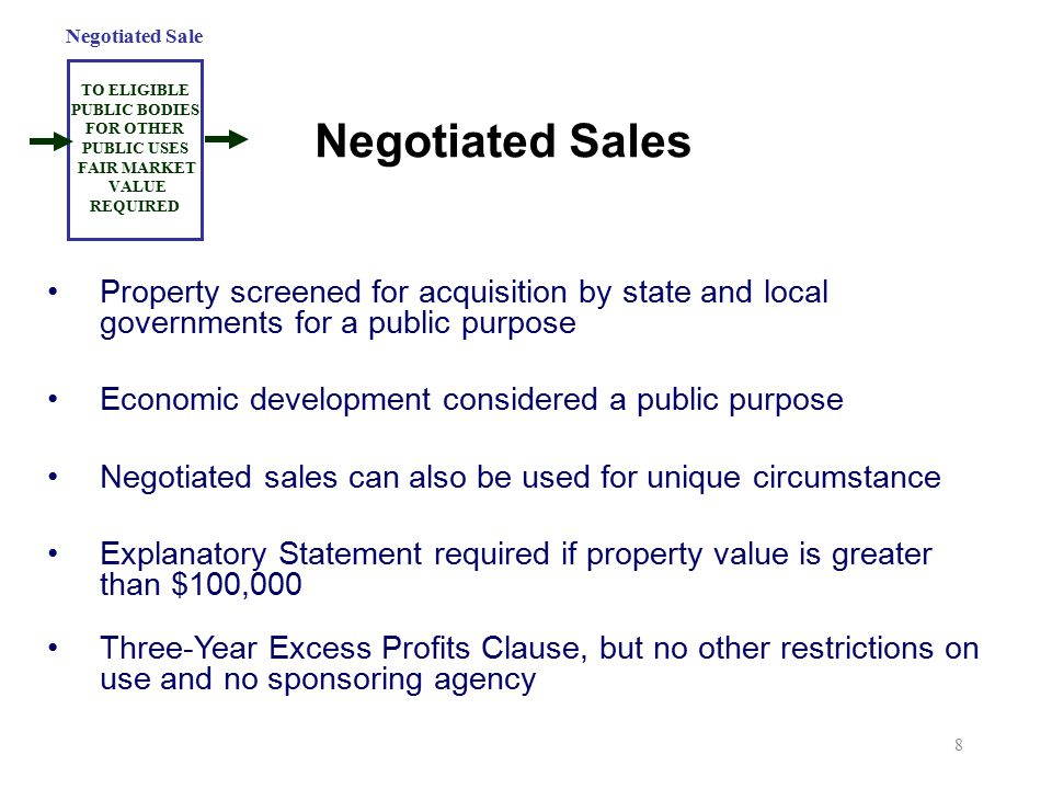 Negotiated Sales Property screened for acquisition by state and local governments for a public purpose Economic development considered a public purpos