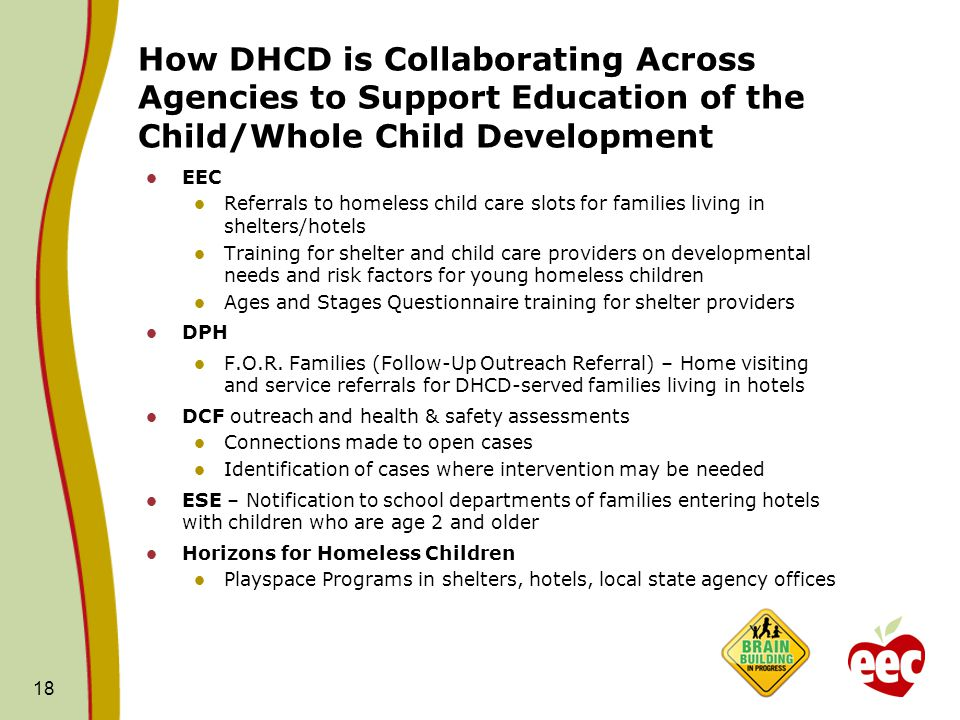 How DHCD is Collaborating Across Agencies to Support Education of the Child/Whole Child Development EEC Referrals to homeless child care slots for families living in shelters/hotels Training for shelter and child care providers on developmental needs and risk factors for young homeless children Ages and Stages Questionnaire training for shelter providers DPH F.O.R.