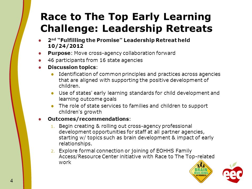 Race to The Top Early Learning Challenge: Leadership Retreats 2 nd Fulfilling the Promise Leadership Retreat held 10/24/2012 Purpose: Move cross-agency collaboration forward 46 participants from 16 state agencies Discussion topics: Identification of common principles and practices across agencies that are aligned with supporting the positive development of children.