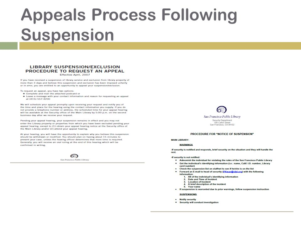 Appeals Process Following Suspension